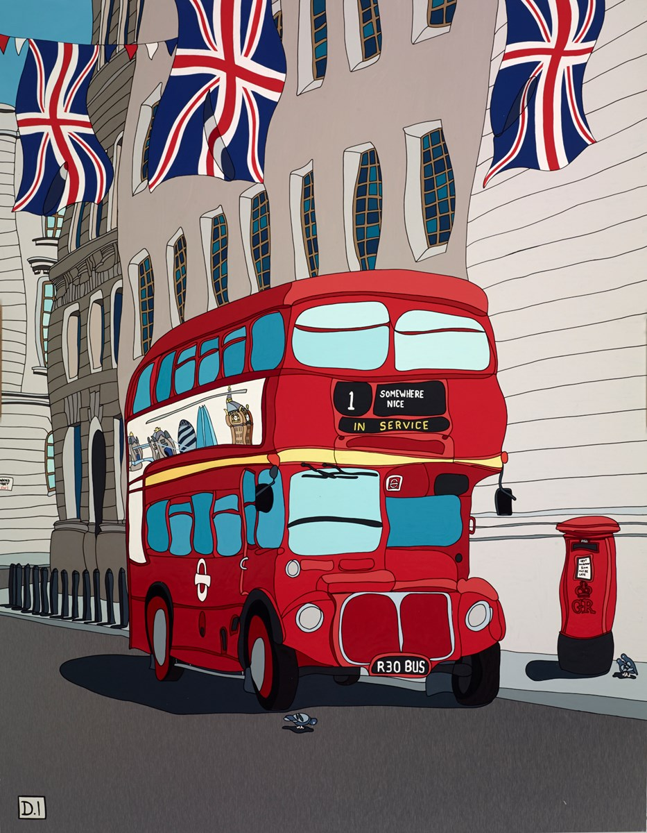 London Bus with Union Jack Flags